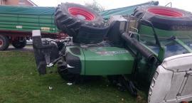Pod Wrocławiem przewrócił się ciągnik rolniczy