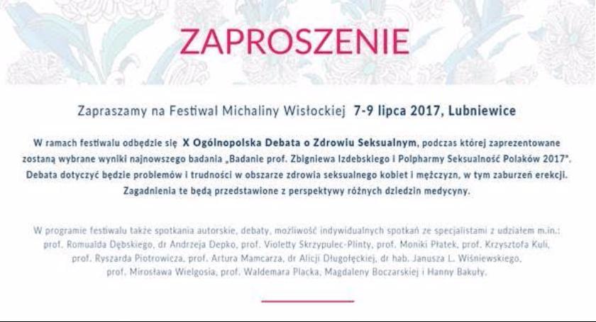 Zaproszenie na Festiwal im. Michaliny Wisłockiej