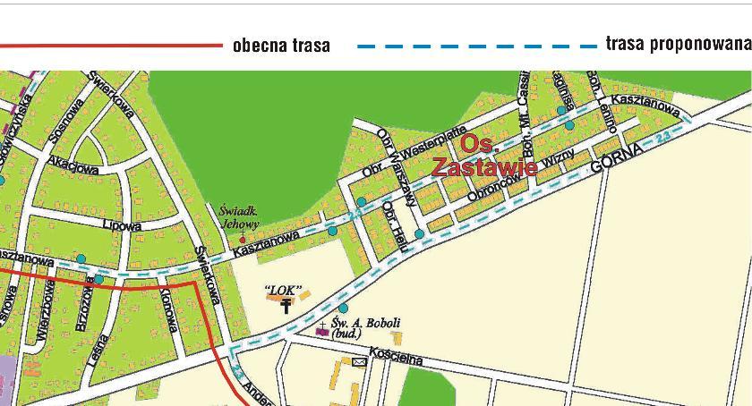 Drogi i komunikacja, Zmiana trasy kursów komunikacji miejskiej - zdjęcie, fotografia