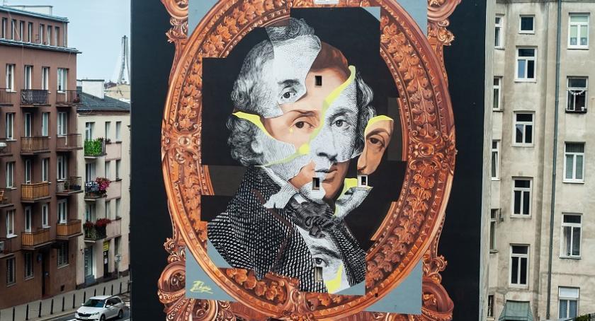 Sztuka, mural chopinowski warszawskiej Tamce - zdjęcie, fotografia