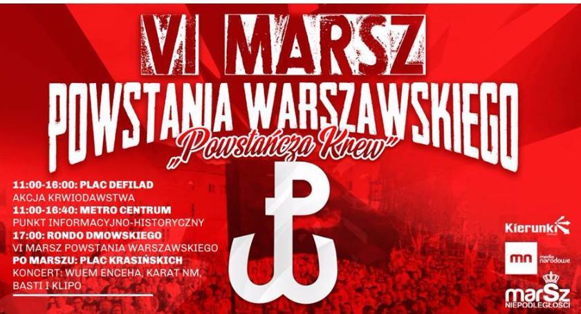 """Historia Warszawy, """"Powstańcza Krew"""" Marsz Powstania Warszawskiego - zdjęcie, fotografia"""