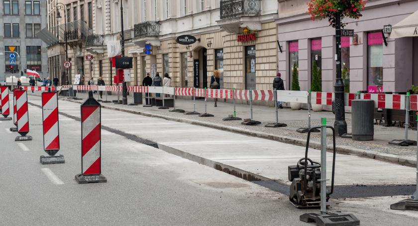 Drogi, wizytą Krakowskim Przedmieściu Zobaczcie postęp Kiedy otwarcie - zdjęcie, fotografia