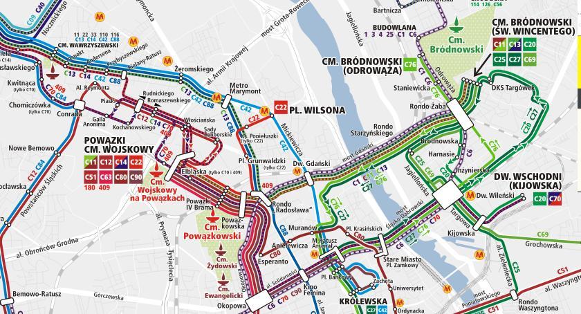 Transport publiczny - komunikacja, Komunikacją miejską cmentarz Rozkład linii specjalnych - zdjęcie, fotografia