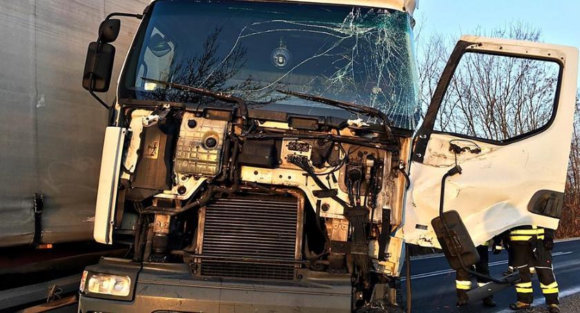 Wypadki, Ciężarówka uderzyła drzewo Jedna osoba ranna [ZDJĘCIA] - zdjęcie, fotografia