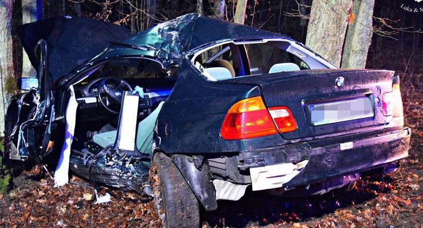 Wypadki, Wypadł drogi uderzył drzewo Kolejny groźny wypadek [ZDJĘCIA] - zdjęcie, fotografia