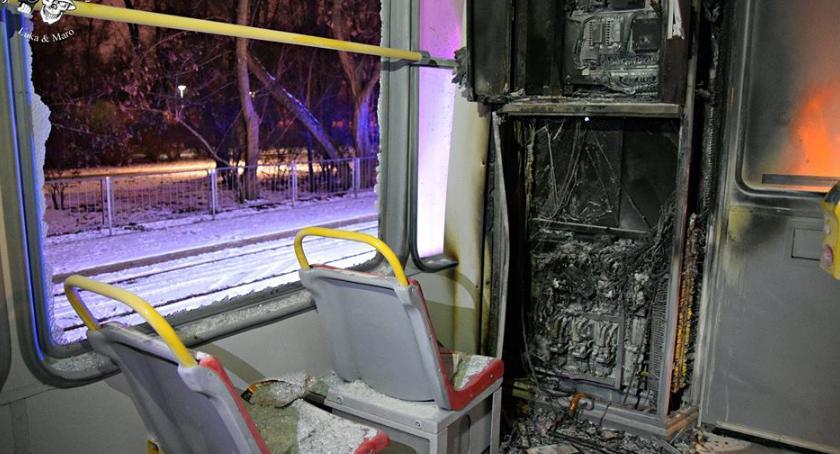 Pożary, Pożar tramwaju moście Śląsko Dąbrowskim [ZDJĘCIA] - zdjęcie, fotografia