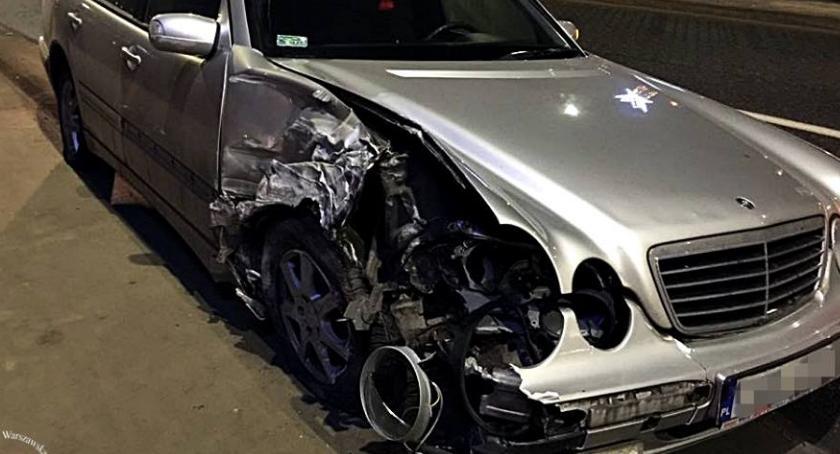 Wypadki, Groźna kolizja moście Poniatowskim - zdjęcie, fotografia