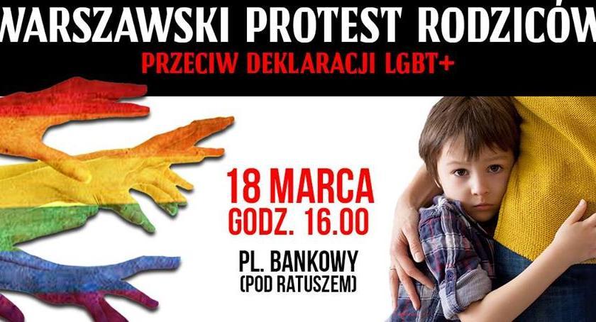 Protesty i manifestacje, Warszawski Protest Rodziców poniedziałek przed Urzędem Miasta - zdjęcie, fotografia