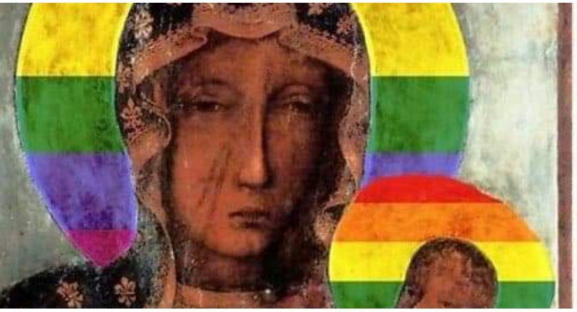 Protesty i manifestacje, Protest zarzucie profanacji obrazu wizerunkiem Matki Boskiej - zdjęcie, fotografia