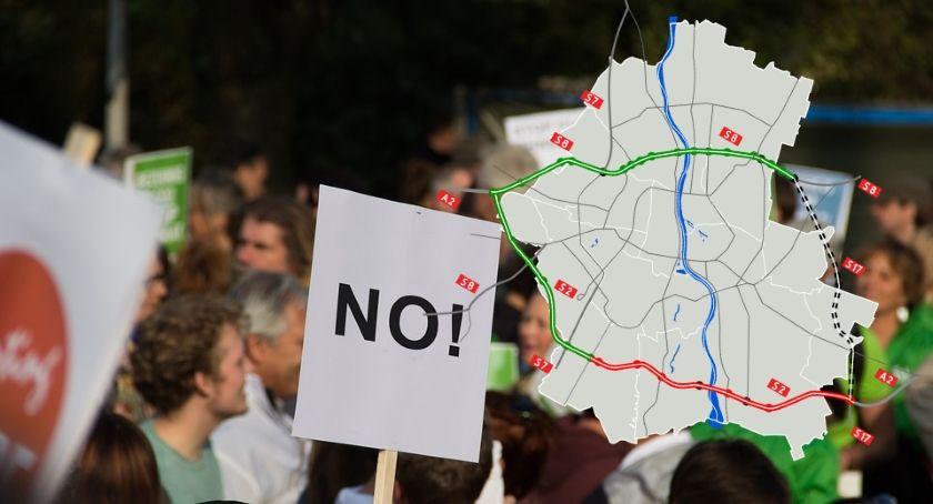 Protesty i manifestacje, Dzisiaj protest przeciwko budowie Wschodniej Obwodnicy Warszawy - zdjęcie, fotografia