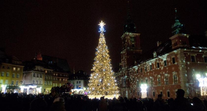 Religia - kościoły - święta, Świąteczna iluminacja Warszawy świeci - zdjęcie, fotografia