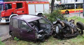 Samochód rozpadł się na części po uderzeniu w drzewo [ZDJĘCIA]