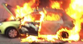 Samochód w ogniu na Wawelskiej. Straż publikuje zdjęcia