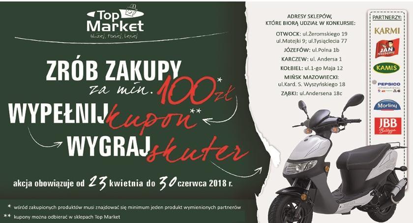 Konkurs, Konkurs Skuter hasło klientów sklepów Market - zdjęcie, fotografia