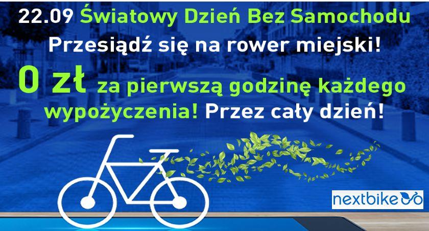 Rowery , Dzień samochodu rowerem miejskim - zdjęcie, fotografia