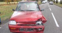 Zderzenie daewoo z passatem na drodze w miejscowości Knorydy