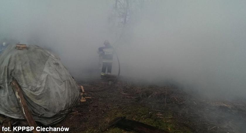 Pożary, Pięć zastępów straży pożarnej gasiło pożar Ojrzeń (zdjęcia) - zdjęcie, fotografia