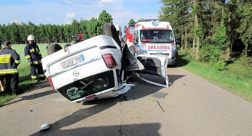 Wypadki drogowe, Dachowanie drogę wbiegło zwierzę [zdjęcia] - zdjęcie, fotografia