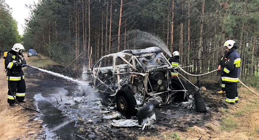 Pożary, Pożar samochodu poszycia [zdjęcia] - zdjęcie, fotografia