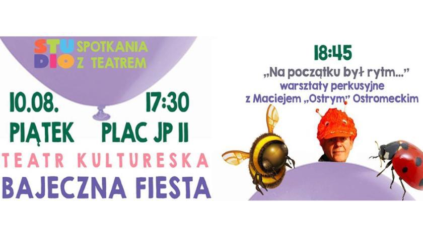 Teatr, Kolejne Spotkanie Teatrem warsztaty perkusyjne przed ratuszem - zdjęcie, fotografia