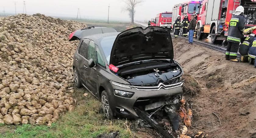 Wypadki drogowe, Ścięła znaki drogowe wylądowała rowie [zdjęcia] - zdjęcie, fotografia