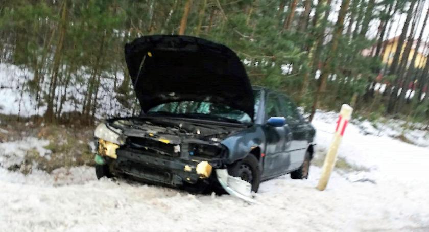Wypadki drogowe, Kierująca Fordem uderzyła znaki drogowe [zdjęcia] - zdjęcie, fotografia