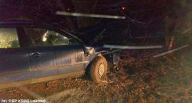 Passat uderzył w drzewo pod Ciechanowem. Pijany kierowca był zakleszczony w aucie [zdjęcia]