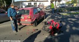 Zderzenie motocykla z osobówką w Ciechanowie [zdjęcia]