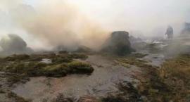 Przyczepa rolnicza zapaliła się na drodze [zdjęcia]