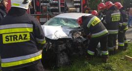 AKTUALIZACJA: Wypadek przy wiadukcie pod Ciechanowem. Ranna 29-latka była uwięziona w aucie [foto]