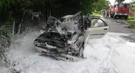 Kolizja w gminie Ojrzeń. Jeden z samochodów stanął w płomieniach [zdjęcia]