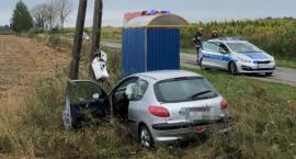 Peugeot uderzył w słup niedaleko Ciechanowa. Za kierownicą 20-latka [zdjęcia]
