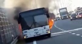 Autobus MZK Toruń stanął w płomieniach [WIDEO]