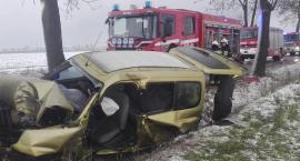 Wypadek pod Toruniem. Samochód uderzył w drzewo [FOTO]