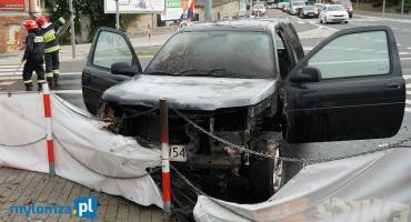 Łomża: Pożar samochodu w środku miasta [FOTO]