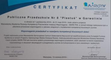 Przedszkole Plastuś z certyfikatem