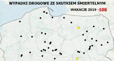Mapa wypadków drogowych ze skutkiem śmiertelnym