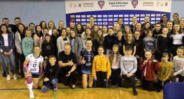Spartanki na meczu Polskiej Ligi Siatkówki kobiet
