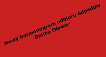 Nowy harmonogram w Gminie Oława