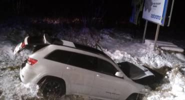 Samochód z czteroosobową rodziną wypadł z drogi