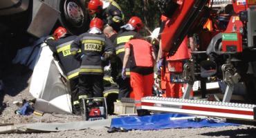 Wypadek na S3. Ciężarówka dachowała na wysokości Gorzelina
