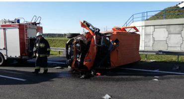 Wypadek na autostradzie A1 w okolicach Warlubia. Są utrudnienia w ruchu na pasie w kierunku Łodzi