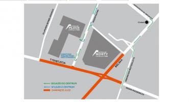 Jak po zamknięciu skrzyżowania Tysiąclecia-Bielska dostać się do galerii Mosty i Atrium Płock?