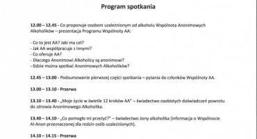 Program Wspólnoty Anonimowych Alkoholików oraz Grup Rodzinnych Al-Anon - spotkanie informacyjne
