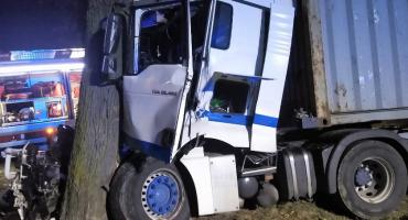 Ciężarówką zatrzymał się na drzewie w gminie Czernice Borowe [Aktualizacja]