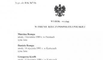 Wyrok Sądu Rejonowego w Kartuzach w sprawie przeciwko Marcinowi Rompie, Danielowi Rompie i Grzegorzowi Kreffcie