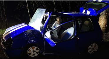 Grabowska Huta. 30-latek rozbił VW Lupo na drzewie