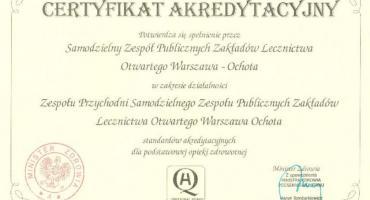 Certyfikat akredytacyjny dla SZPZLO Warszawa - Ochota