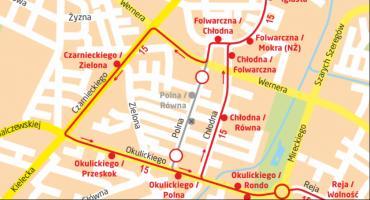 Zmiany w ruchu kołowym i kursowaniu linii 15 na Kapturze