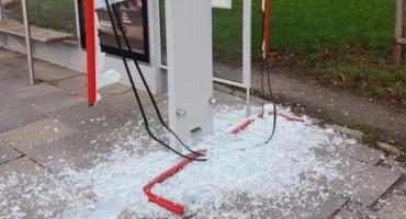 Zdemolowano przystanek autobusowy przy ul. Leszno